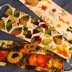 Set of three fall handmade masks
